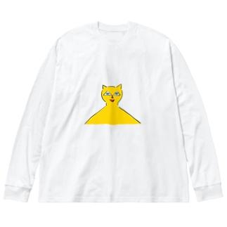 都市伝説ねこちゃん Big silhouette long sleeve T-shirts