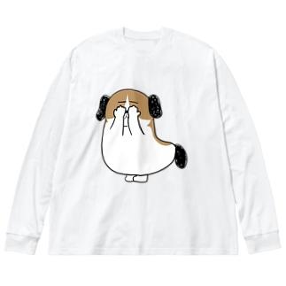 もじゃまる目隠し Big silhouette long sleeve T-shirts