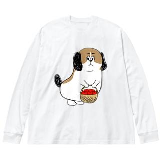 もじゃまるお見舞い Big silhouette long sleeve T-shirts