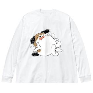 もじゃまるやだやだ Big silhouette long sleeve T-shirts
