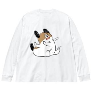 もじゃまるしりもち Big silhouette long sleeve T-shirts