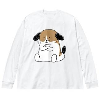 もじゃまる納得 Big silhouette long sleeve T-shirts