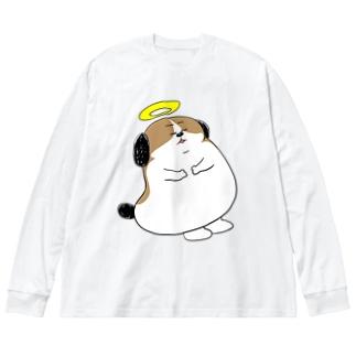 もじゃまる昇天 Big silhouette long sleeve T-shirts