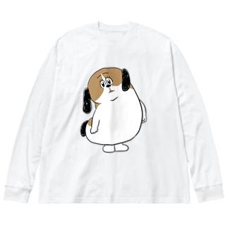 もじゃまるなぁに? Big silhouette long sleeve T-shirts