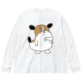 もじゃまるおまかせ Big silhouette long sleeve T-shirts