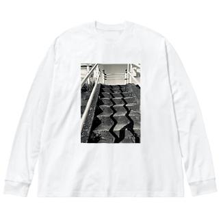 階段のかげ Big silhouette long sleeve T-shirts