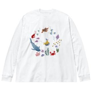 海の日プラスジンベエザメ Big silhouette long sleeve T-shirts