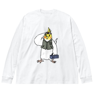 技術者オカメインコ Big silhouette long sleeve T-shirts
