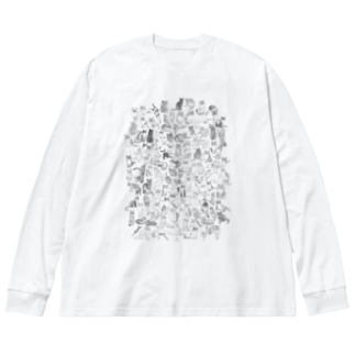 ねこぎゅっと Big silhouette long sleeve T-shirts