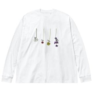 花と虫 Big silhouette long sleeve T-shirts