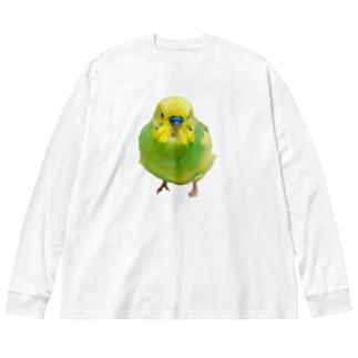 インコのおかゆさん Big silhouette long sleeve T-shirts