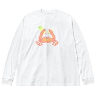 チョッキン!カニによりダイコン半分物語 Big silhouette long sleeve T-shirts