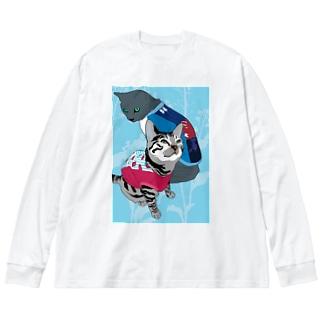 仲良し2にゃん💙🍓苺柄タンクトップでおめかし✨ Big silhouette long sleeve T-shirts