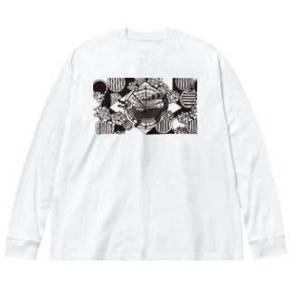 アジT メガネカイマン Big silhouette long sleeve T-shirts