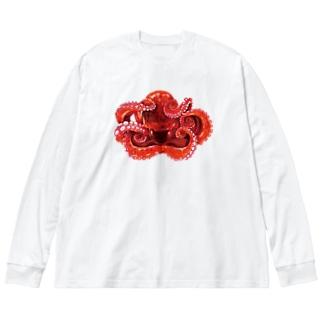 たこ Big silhouette long sleeve T-shirts