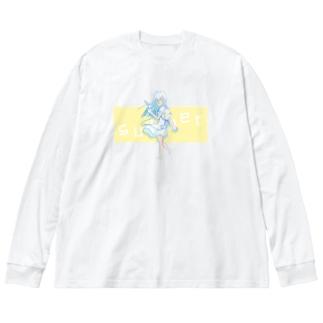 しろくま少女と夏 Big silhouette long sleeve T-shirts