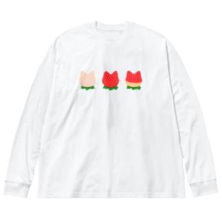 🍓ねこいちご Big silhouette long sleeve T-shirts