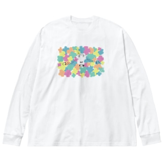 「花番煎じ」 Big silhouette long sleeve T-shirts