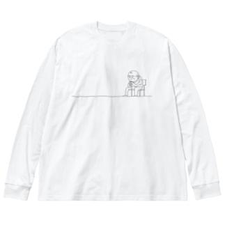 おじいさん1 Big silhouette long sleeve T-shirts