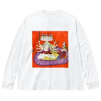 シヴァを崇めるパールヴァティ Big silhouette long sleeve T-shirts
