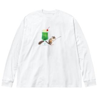 やまさきゆみこの「クリームソーダはいかが?」-シマリスより- Big silhouette long sleeve T-shirts