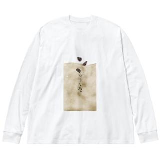 白餡のコーヒー Big silhouette long sleeve T-shirts