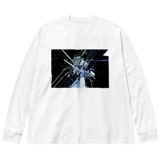 中野・夜中のいい電線 Big silhouette long sleeve T-shirts