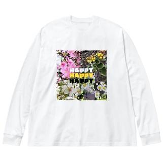 花たち Big silhouette long sleeve T-shirts