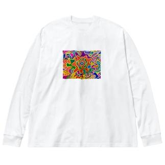 ファッキンハッピーサン Big silhouette long sleeve T-shirts
