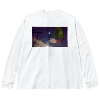 夜空 Big silhouette long sleeve T-shirts