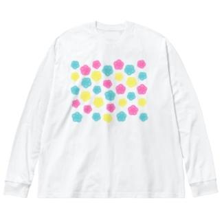 カラフルポップ水引梅結び Big silhouette long sleeve T-shirts