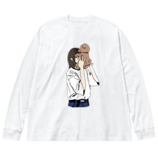 顔面にクマがハマった人 Big silhouette long sleeve T-shirts