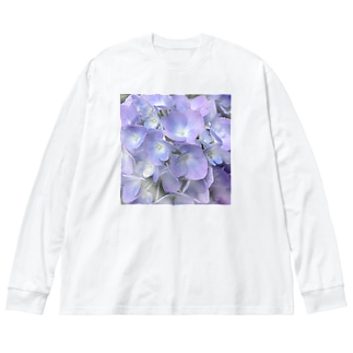 紫陽花 Big silhouette long sleeve T-shirts