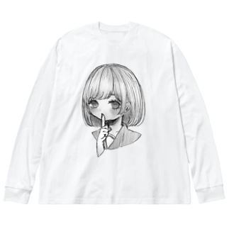 ボブヘアーの女の子 Big silhouette long sleeve T-shirts