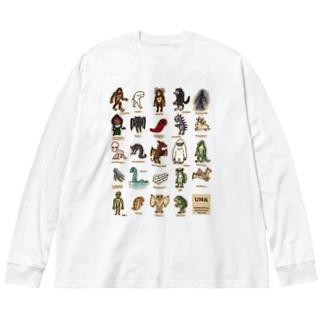 ちょっとゆるいUMA図鑑 (カラーパターン1) Big silhouette long sleeve T-shirts