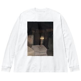 警戒のらねこ Big silhouette long sleeve T-shirts