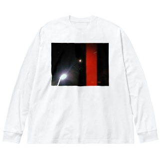 赤と夜空 Big silhouette long sleeve T-shirts