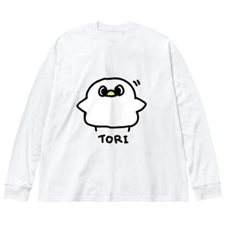 とり Big silhouette long sleeve T-shirts