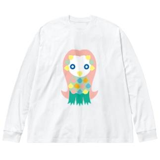 アマビエ Big silhouette long sleeve T-shirts