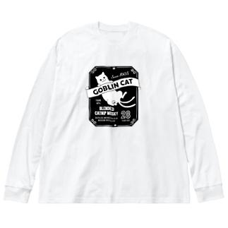 化け猫ウヰスキー Big silhouette long sleeve T-shirts