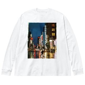 東京の夜 Big silhouette long sleeve T-shirts
