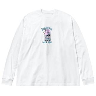 アマビエさんと一緒 Big silhouette long sleeve T-shirts