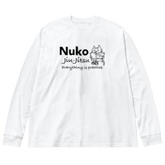 ヌコ(ネコ) 柔術Ⅱ Big silhouette long sleeve T-shirts