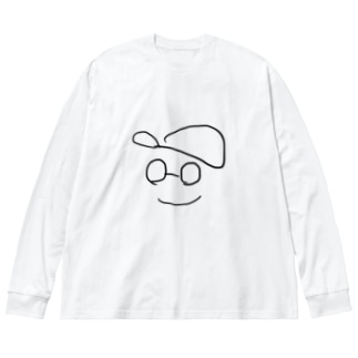 帽子メガネくん Big silhouette long sleeve T-shirts