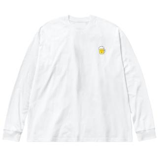 ビールメンチくん Big silhouette long sleeve T-shirts