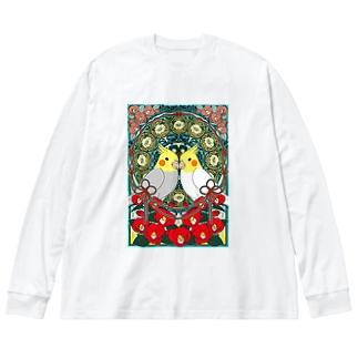 オカメインコ椿【まめるりはことり】 Big silhouette long sleeve T-shirts