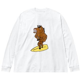 うまごりさん Big silhouette long sleeve T-shirts