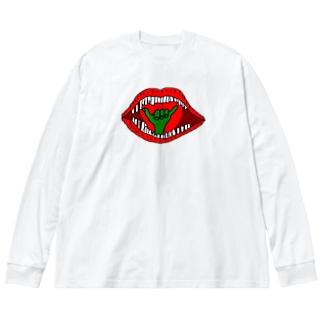 口の中に手押し Big silhouette long sleeve T-shirts