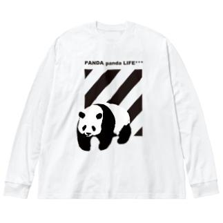 飛び出すパンダ ストライプ Big silhouette long sleeve T-shirts