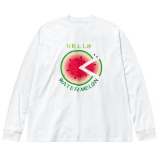CT36!スイカの輪切り Big silhouette long sleeve T-shirts